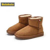 巴拉巴拉儿童雪地靴女童中筒靴2018新款冬季鞋男童靴子大童鞋保暖