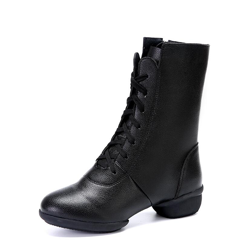 秋冬季加绒舞蹈靴中筒软底水兵舞鞋女真皮现代广场舞跳舞鞋