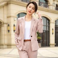 【下单立减120,仅此一天】2019春夏新款长袖小西服女士职业装套装面试工作服时尚修身