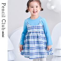 【3件价:48.9元】铅笔俱乐部童装2020春装新款女童长袖连衣裙女小童格子假两件裙子