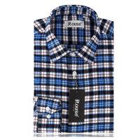 洛兹男正品秋季新款商务休闲全棉长袖格子衬衫LM14417-22