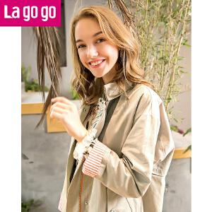 Lagogo刺绣风衣女个性时尚中长款2017秋装新款气质宽松百搭薄外套