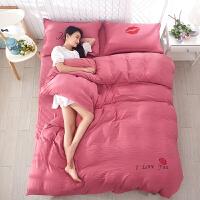 新款水洗棉四件套 双人床单人被罩 学生1.5米被套床单床上用品