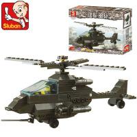 小鲁班积木装甲兵团阿帕奇战斗机 塑料拼插玩具男孩益智M38-B6200