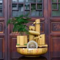 流水摆件竹子喷泉风水轮水车家居装饰品摆设创意礼物乔迁礼品