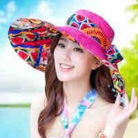 沙滩帽女韩版潮春夏天防晒帽大沿可折叠遮阳帽太阳帽防紫外线帽子