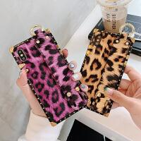 豹纹腕带支架苹果x手机壳iphone xs max保护套6/6s/7/8/plus布纹防摔iph iPhone x-黄