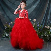 儿童礼服女童公主裙钢琴演出服主持人走秀生日礼服红色拖尾裙