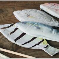 韩国文具创意 超逼真仿生鱼笔袋韩国创意鲜活海鱼记个性鲫鱼学生文具袋咸鱼笔包 1个 款式随机