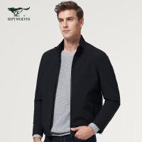 七匹狼夹克2018秋季新款中青年男立领纯色商务洗选男装外套茄克