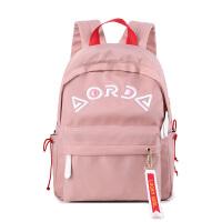 韩版初高中学生书包学院风双肩尼龙布女包绣花电脑包SN1580 粉红色