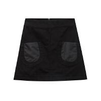 【全场2件2.5折,到手价:43.8】美特斯邦威冬季半裙女高腰斜插袋装饰A字短裙