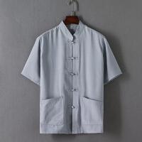 唐装男短袖夏装中式汉服中老年亚麻衬衫男爷爷装棉麻宽松纯色上衣