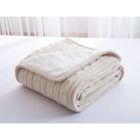 美式冬季毛毯 加绒加厚法兰绒办公室毯子 北欧纯色毯情侣沙发盖毯 120cmx180cm