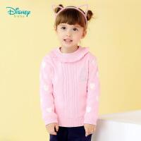 迪士尼Disney童装 女童毛衣秋冬新款保暖圆领打底衫宝宝长袖套头休闲上衣183S1034
