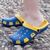 儿童拖鞋夏男女童防滑沙滩鞋中大童卡通洞洞鞋包头软底宝宝凉拖鞋 宝蓝面黄底 (男女通穿)