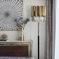 现代落地灯创意水晶不锈钢客厅灯美式轻奢大气卧室灯具 如图:直径37*高164CM+飞利浦LED光源