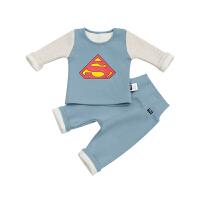 婴儿保暖套装秋冬高腰护肚加厚 0-1-2-3岁男宝宝一体加绒内衣 浅蓝色 超人套装