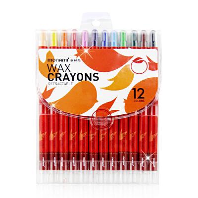 慕娜美 蜡笔学生儿童绘画可旋转油画棒棒棒彩12色短款长款 画画笔 油画棒 可水洗 容易清洗  不同用法