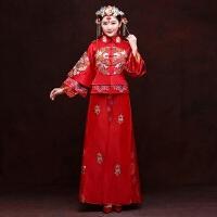 红色中式婚纱礼服秀禾服龙凤褂新娘敬酒服孕妇绣和喜服秋冬长旗袍 女装
