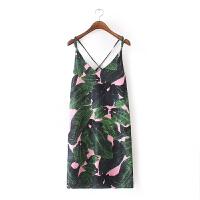 米多20夏热带风情印花连衣裙椰树印花时尚交叉带吊带连衣裙