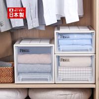 Tenma日本天马株式会社 抽屉式收纳箱透明塑料衣柜收纳盒面宽30厘米 三个组合装