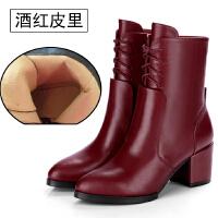 短靴女春秋单靴子真皮中跟粗跟大码马丁靴2018冬季加绒雪地靴女靴SN9063
