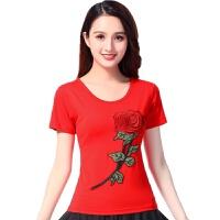 广场舞服装夏季新款舞蹈服中老年演出服玫瑰绣花短袖跳舞上衣 5X