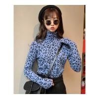 秋冬女装韩版豹纹修身显瘦学生加绒加厚高领长袖打底衫T恤上衣潮 均码