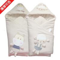 婴儿抱被宝宝新生儿包被春秋冬季厚款彩棉抱毯可脱胆婴儿用品