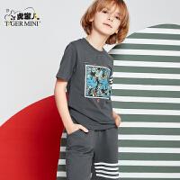 小虎宝儿童装男童短袖T恤春夏新款套装中大童短裤子纯全棉两件套