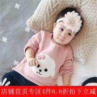 婴儿秋装0-3岁女宝宝小羊头幼儿T恤百搭外出纯棉新生儿上衣潮