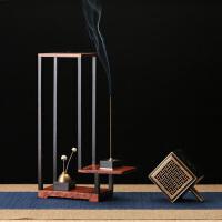 红木质音乐香炉线香插 现代中式花架 家用室内檀香炉茶道套装摆件