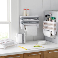 厨房收纳架 厨房保鲜膜收纳架带切割器铝箔烧烤纸置物架纸巾架毛巾收纳置物架