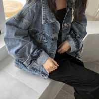 牛仔外套女2020春装新款韩版原宿港风做旧水洗bf宽松短款夹克上衣