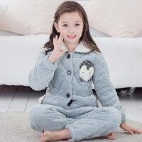 儿童睡衣女秋冬加厚款法兰绒夹棉女童公主宝宝家居服大童保暖套装