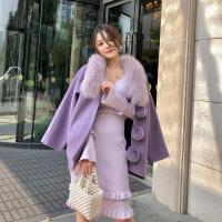 狐狸毛羊绒斗篷大衣2018冬年度球皮草双面羊毛双面呢紫色宽松呢子 甜美紫