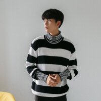 新年优惠【NEW】HUALUN 秋冬高领黑白条纹毛衣针织衫韩版潮学生套头衫潮牌宽松