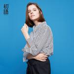 【夏装清仓价】初语夏季新款 波浪绣线双层领时尚衬衣下摆不规则条纹雪纺衫