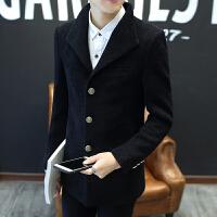 风衣男短款秋冬季新款韩版潮流修身青年帅气毛呢大衣呢子外套