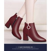 WARORWAR新品YM45-6088Q冬季韩版粗跟高跟女士靴子切尔西靴短靴