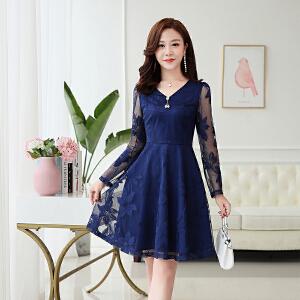 2018秋季新款气质韩版长袖修身印花中长款时尚OL蕾丝连衣裙女秋装