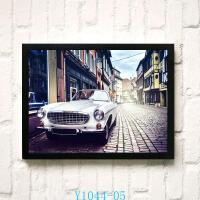 美式工业风格装饰画怀旧复古欧式酒吧挂画咖啡厅墙壁画汽车老爷车 43*63 白色画框 单价