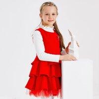 【1件3折到手价:92.97】米喜迪mecity童装冬装女童毛呢多层蛋糕裙红色公主连衣裙