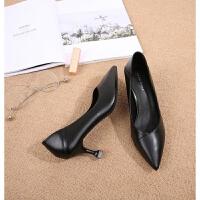 职业高跟鞋女礼仪尖头一脚蹬单鞋黑色中跟猫细跟ol正装工作鞋 猫跟 5 厘米