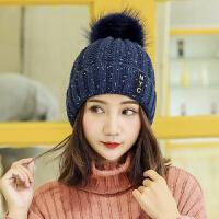 帽子女冬天兔毛帽纯色鸭舌贝雷帽保暖针织毛线帽秋冬季时尚帽