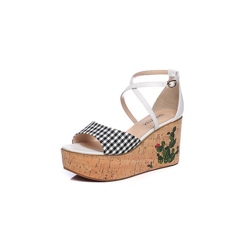 Teenmix/天美意2018夏移膜二层牛皮革/纺织品坡跟女凉鞋CC903BL8