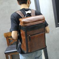 休闲双肩包男时尚潮流男士背包韩版皮质旅行包学生书包电脑男包潮 咖啡色