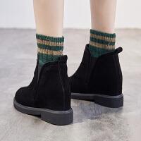内增高女鞋冬季2018新款百搭韩版高帮鞋女加绒一脚蹬翻毛皮短靴女