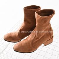 时尚百搭复古麂皮绒短靴女秋新款粗跟马丁靴英伦风靴子女鞋15014SN8824